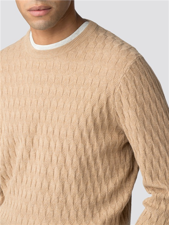 650517555eb Men's Brown Pattern Crew Neck Jumper | Ben Sherman | Est 1963