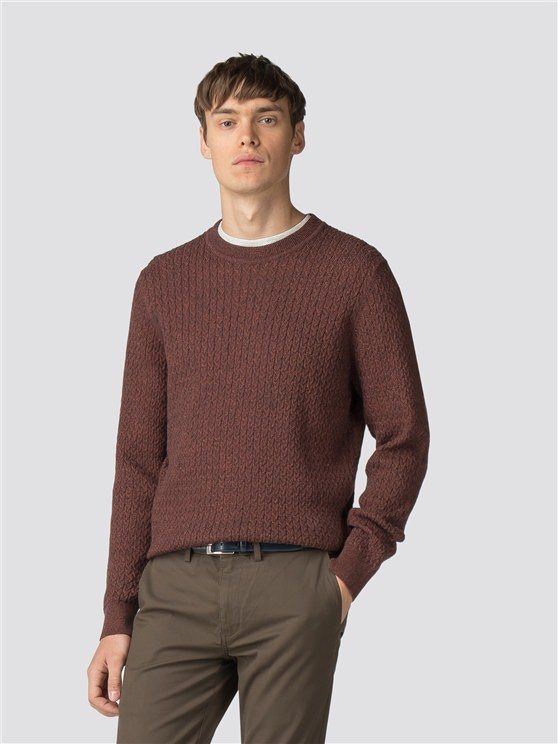 Rust Mouline Crew Neck Jumper