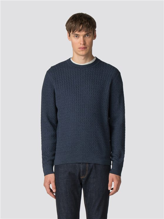 Blue Mouline Crew Neck Jumper