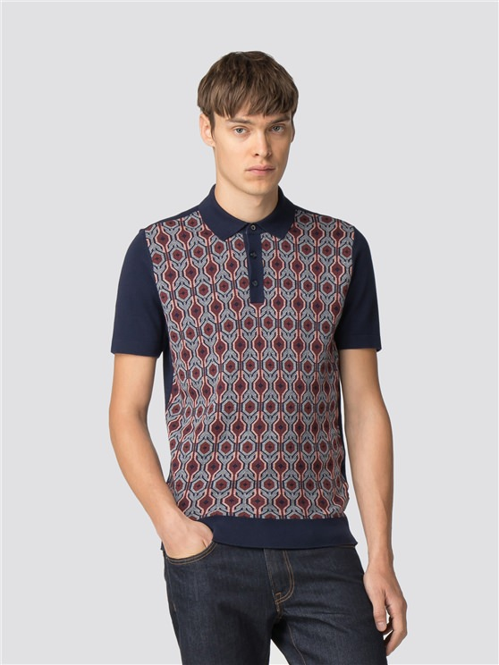 Birdseye Jacquard Knit Polo Shirt