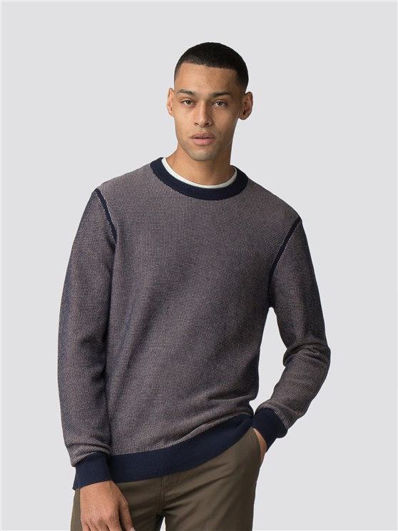Navy Micro Waffle Crew Neck Jumper