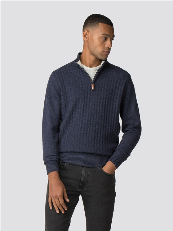 Blue Quarter Zip Funnel Neck Jumper