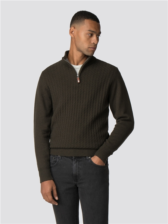 Olive Quarter Zip Funnel Neck Jumper