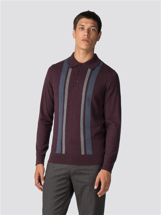 Wine Block Long Sleeve Polo Shirt