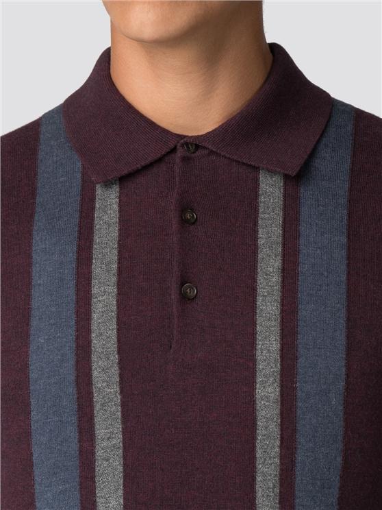 fdee70a0 Men's Red Wine Long Sleeved Polo Shirt | Ben Sherman | Est 1963