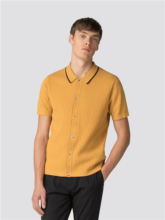 BUTTON THROUGH KNITTED POLO