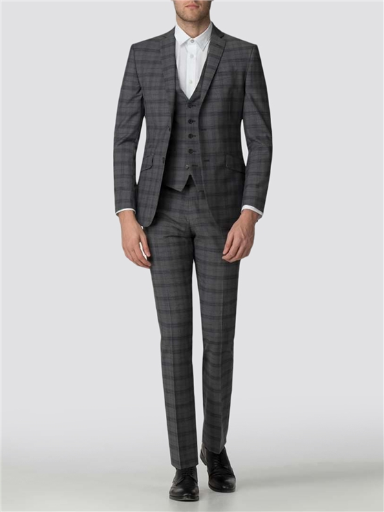 Tailored Fit Grey Check Suit Jacket