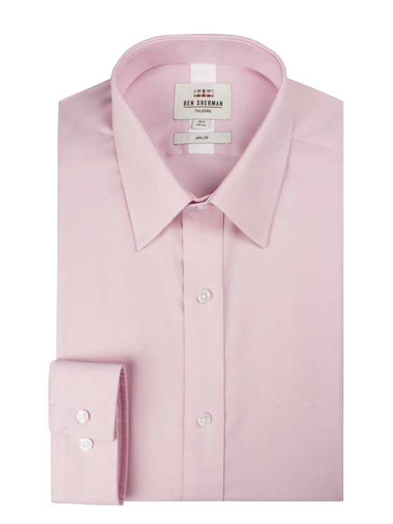Pink Long Sleeve Plain Royal Oxford Shirt