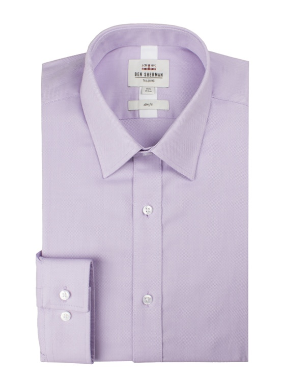Lilac Long Sleeve Plain Royal Oxford Shirt