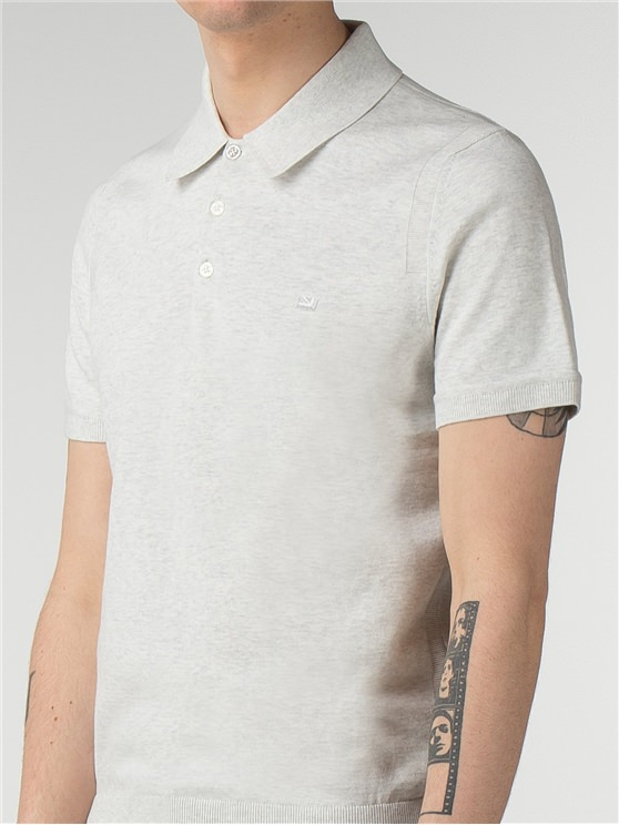 White Short Sleeve Knitted Polo