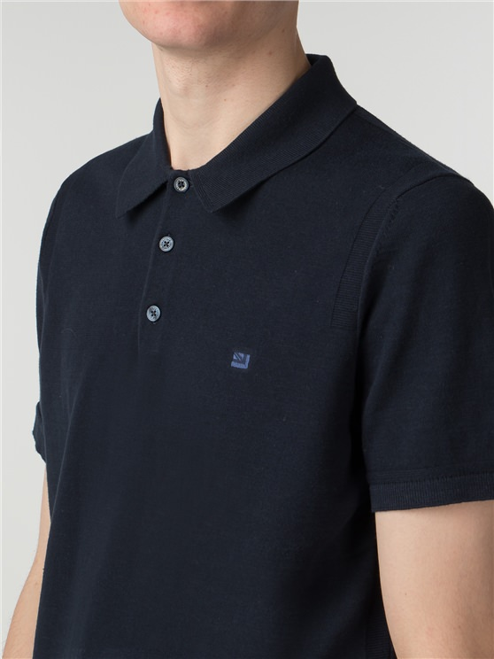 Navy Short Sleeve Knitted Polo