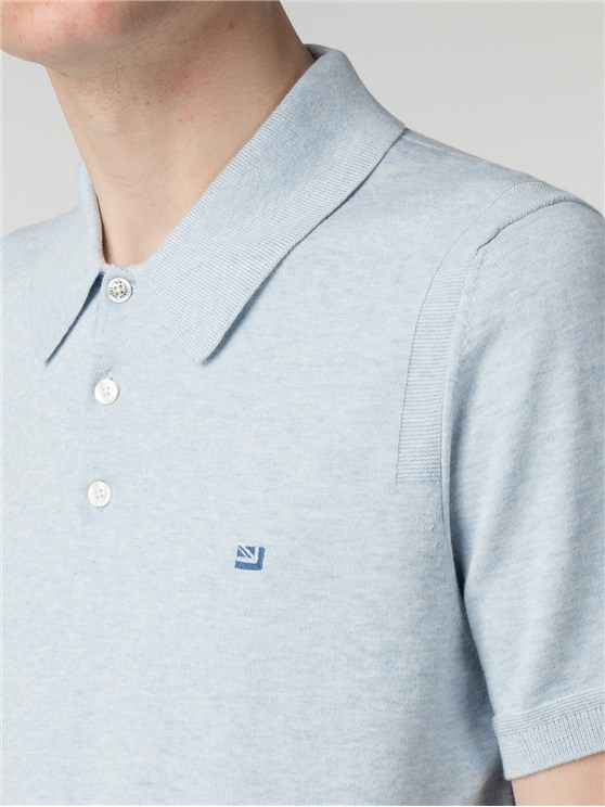 Light Blue Short Sleeve Knitted Polo