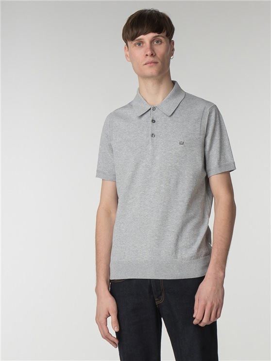 Grey Short Sleeve Knitted Polo