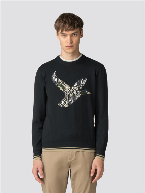 Black Crew Neck Duck Jumper