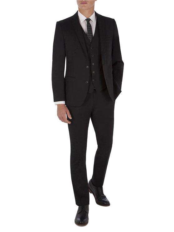 Jet Black Twill Camden Fit Three Piece Suit