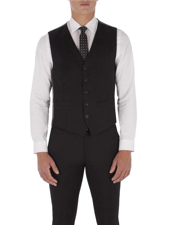 Jet Black Twill Slim Fit Waistcoat