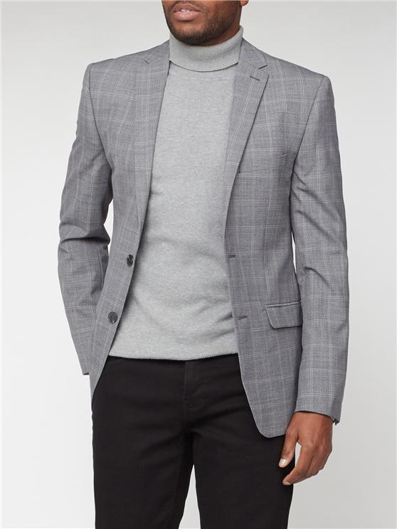 Grey Windowpane Check Suit
