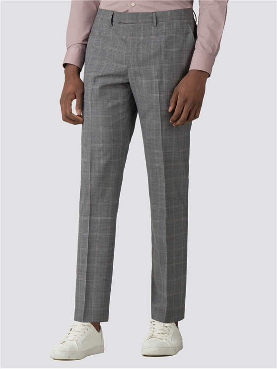 Grey Windowpane Check Trousers
