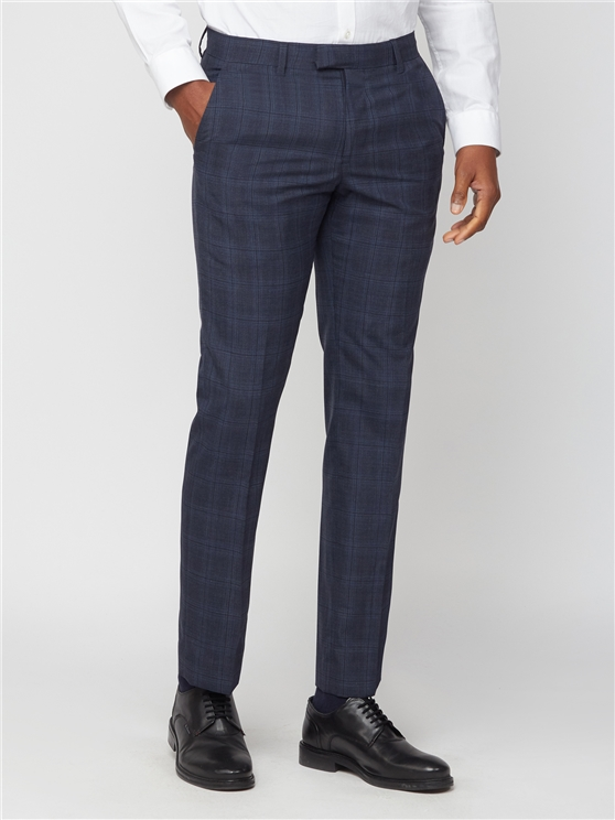 Blue with Navy Overcheck Slim Fit Trouser