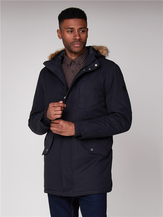 Fur Hood Heavy Navy Blue Parka