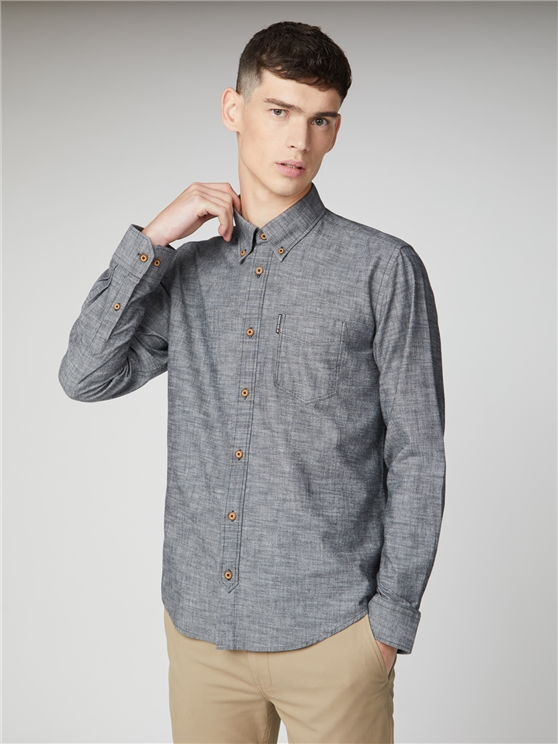 Black Long Sleeve Chambray Shirt