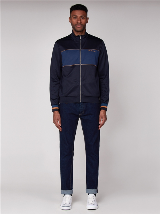 Navy Blue Tricot Track Top