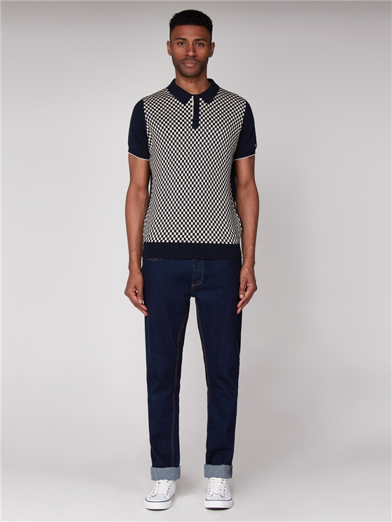 Navy & White Checkerboard Knitted Polo Shirt