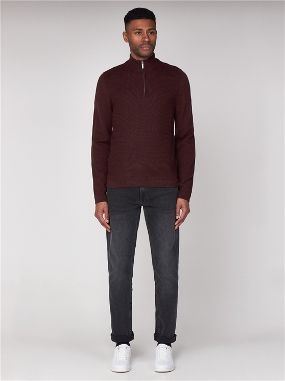 Dark Red Quarter Zip Funnel Neck