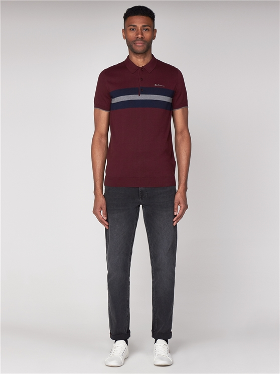 Wine Red Striped Knitted Polo