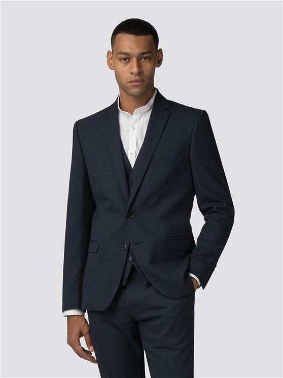 Midnight Navy Broken Effect Stretch Camden Fit Suit