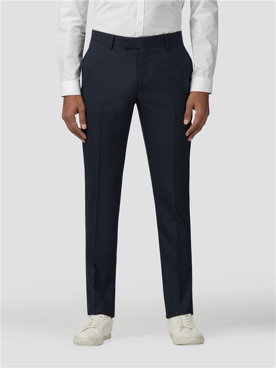 Midnight Navy Broken Effect Stretch Camden Fit Trouser