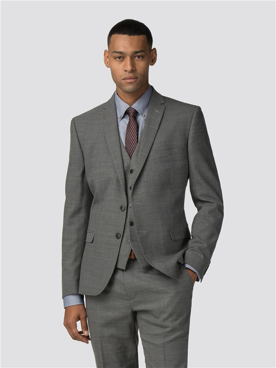 Grey High Twist Texture Stretch Camden Fit Jacket