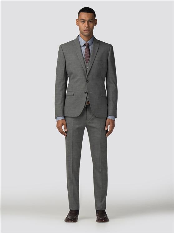 Grey High Twist Texture Stretch Camden Fit Three Piece Suit