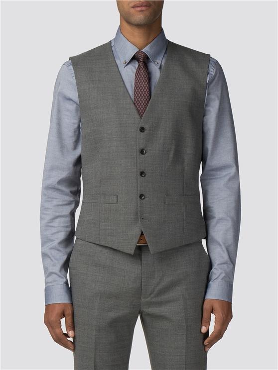 Grey High Twist Texture Camden Fit Waistcoat