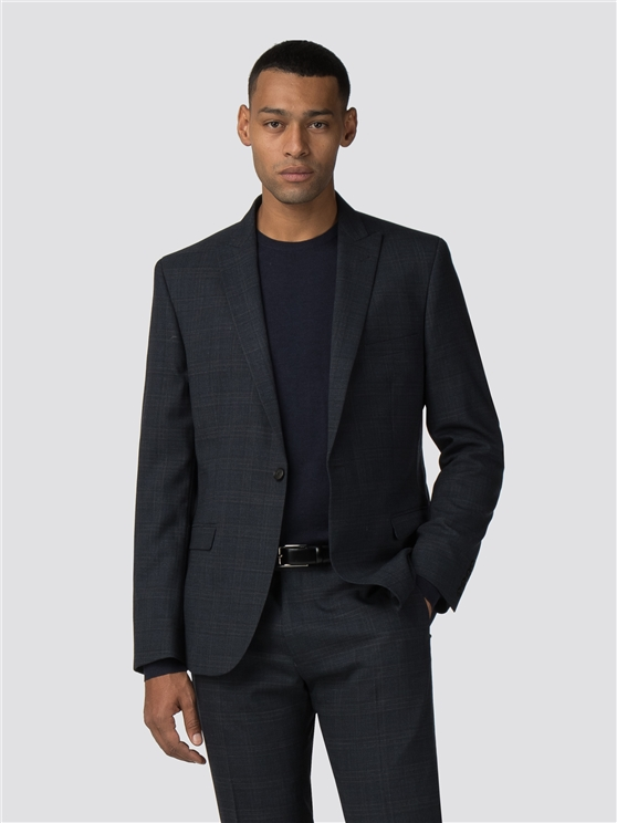 Deep Blue Textured Check Stretch Camden Fit Suit