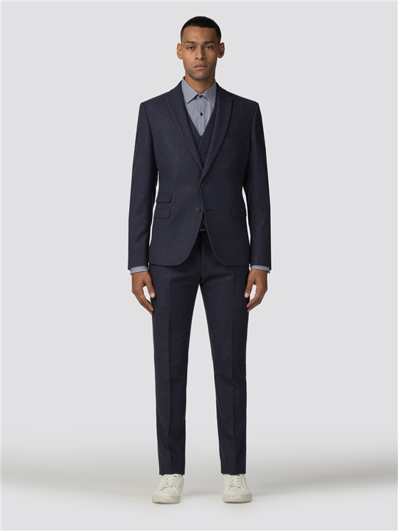 Deep Blue Tweed Donegal Camden Fit Three Piece Suit