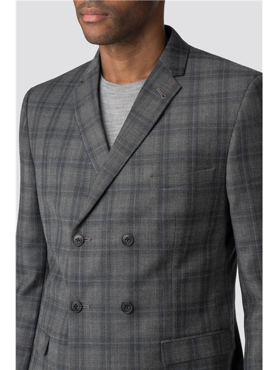 Cool Grey Blue Check Camden Fit Suit Jacket