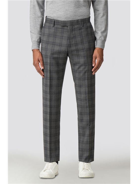 Cool Grey Blue Check Camden Trouser