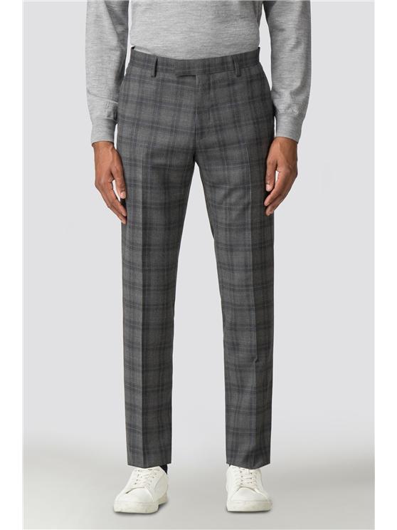 Cool Grey Blue Check Camden Trouser