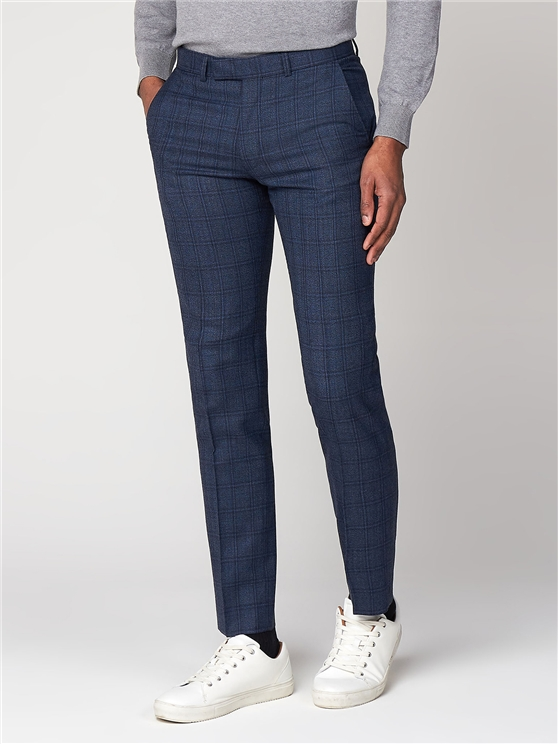 Airforce Blue Check Camden Trouser