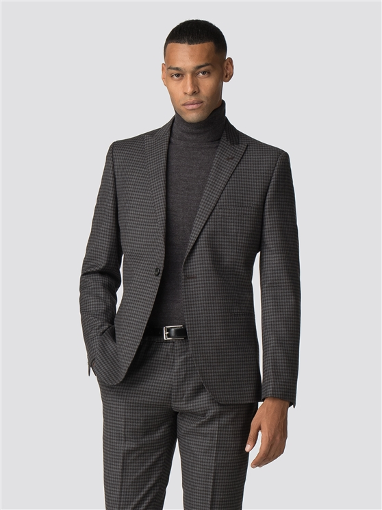 British Charcoal Check Gingham Camden Fit Suit