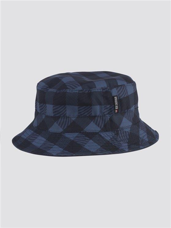 Navy Gingham Hat