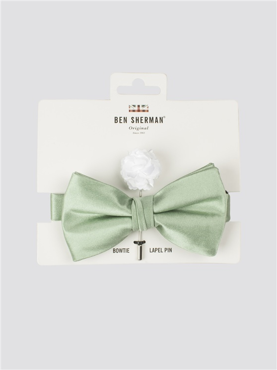 Green Bow Tie & Pin Set
