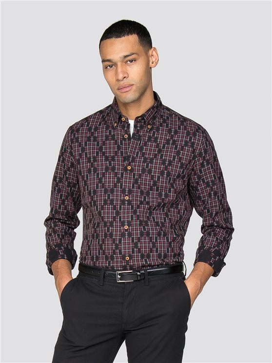 Long Sleeve Gingham Argyle Shirt