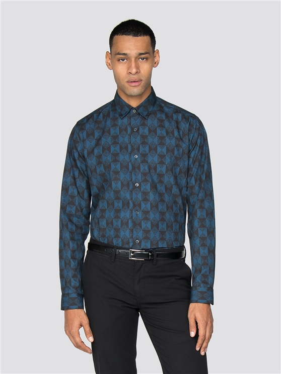 Long Sleeve Argyle Print Shirt