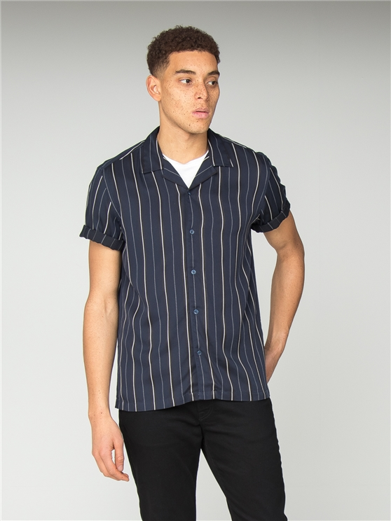 Short Sleeve Satin Stripe Shirt