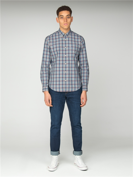 Navy Slub Stripe Check Shirt