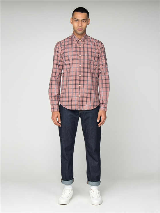 Pink Slub Stripe Check Shirt