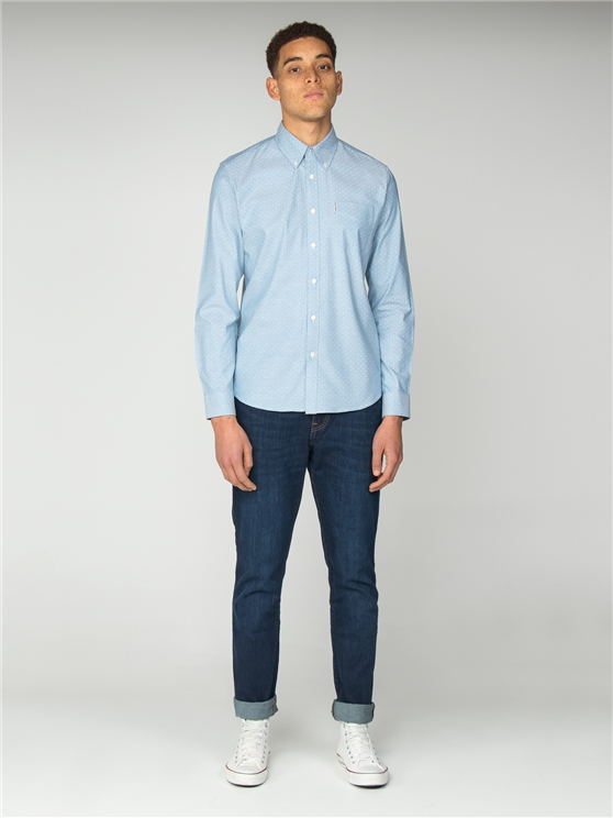 Sky Blue Oxford Polka Dot Shirt