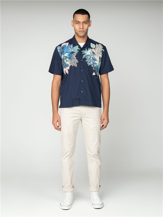 Short Sleeve Foliage Print Summer Shirt